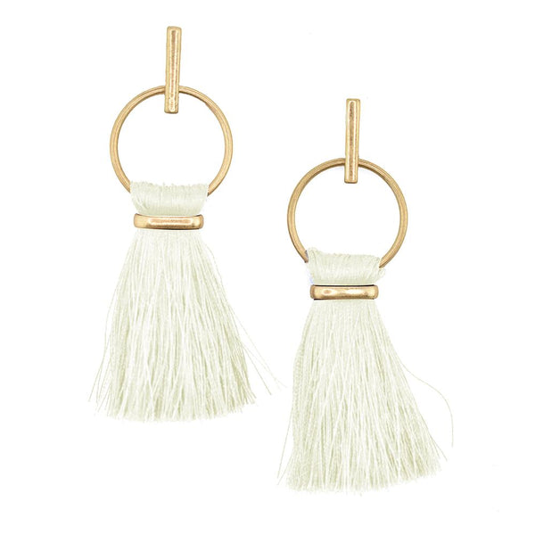 Round Hoop Hanging Tassel Earrings, 3-Inch, Ivory