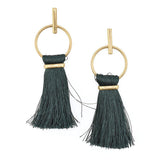 Round Hoop Hanging Tassel Earrings, 3-Inch
