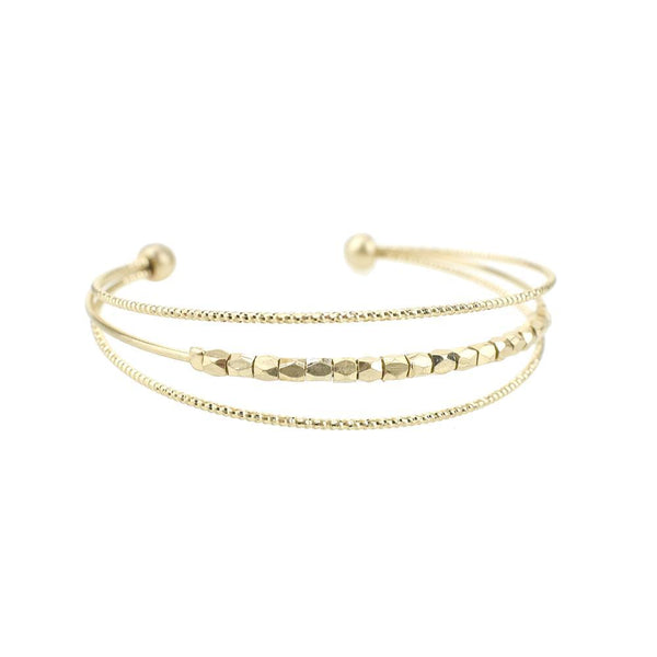 Metal Seedbeads Cuff Bracelet, Gold