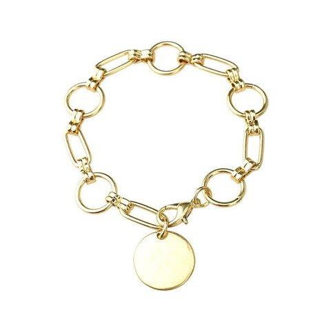 Chain Bracelet with Round Disk, Gold, 7-Inch