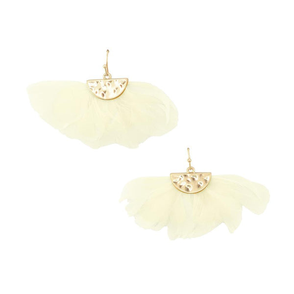 Feathers Drop Earrings with Hammered Metal, Ivory, 1-1/2-Inch
