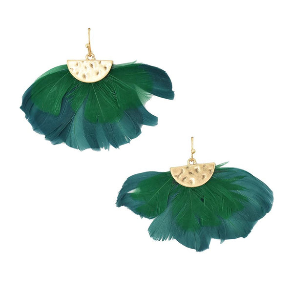 Feathers Drop Earrings with Hammered Metal, Teal, 1-1/2-Inch