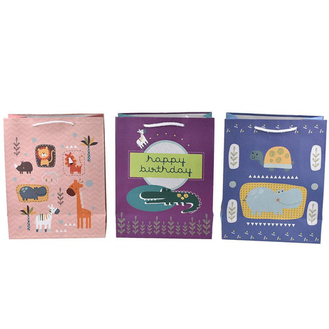 Zoo Animal Friends Birthday Gift Bags, 9-3/4-Inch, 3-Piece