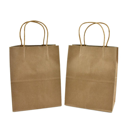 Kraft Gift Bags, Brown, 14-Inch, 12-Count