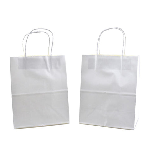 Kraft Gift Bags, White, 14-Inch, 12-Count