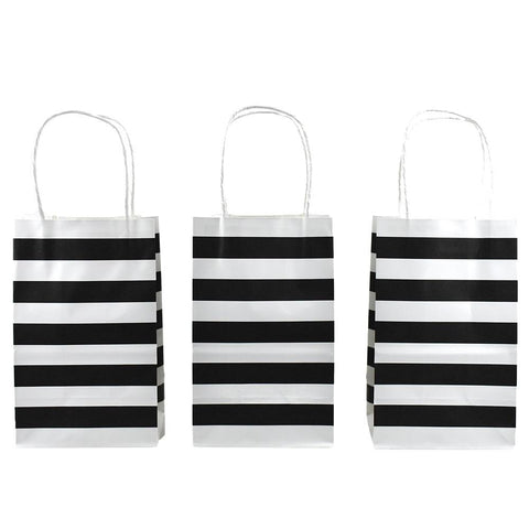 Striped Slim Gift Bags, Black, 12-1/2-Inch, 12-Count
