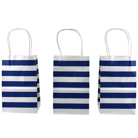 Striped Slim Gift Bags, Royal Blue, 12-1/2-Inch, 12-Count