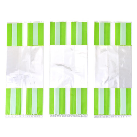 Striped Party Favor Bags, Light Green, 11-3/4-Inch, 8-Count