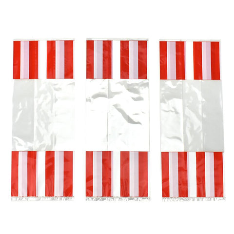 Striped Party Favor Bags, Red, 11-3/4-Inch, 8-Count