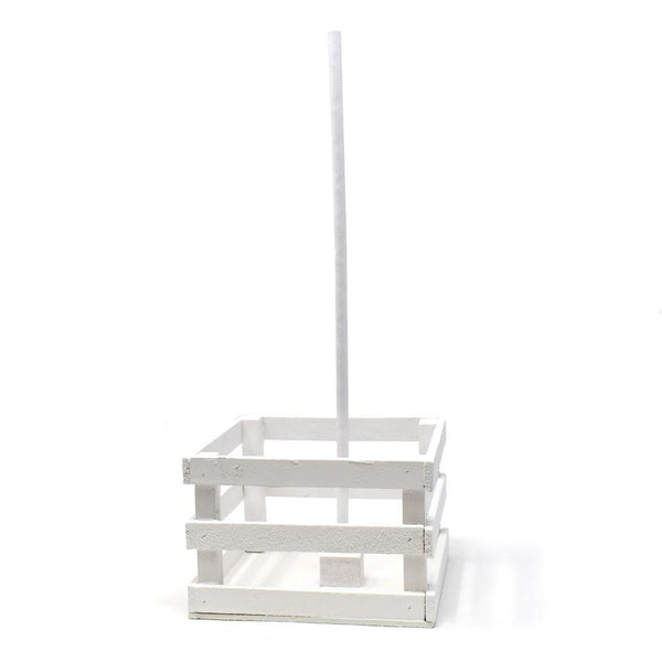 Mini Wooden Crate with Dowel, White, 5-Inch