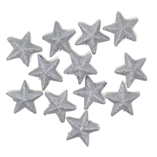 Glittered Foam Stars, Silver, 2-1/2-Inch, 12-Count