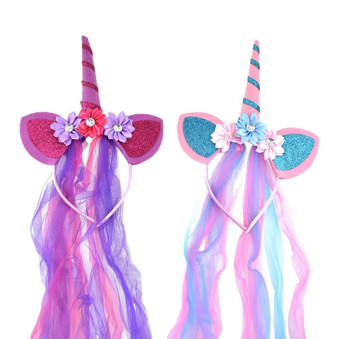 Unicorn Party Headbands with Chiffon Accent, Assorted Colors, 10-Inch, 2-Piece