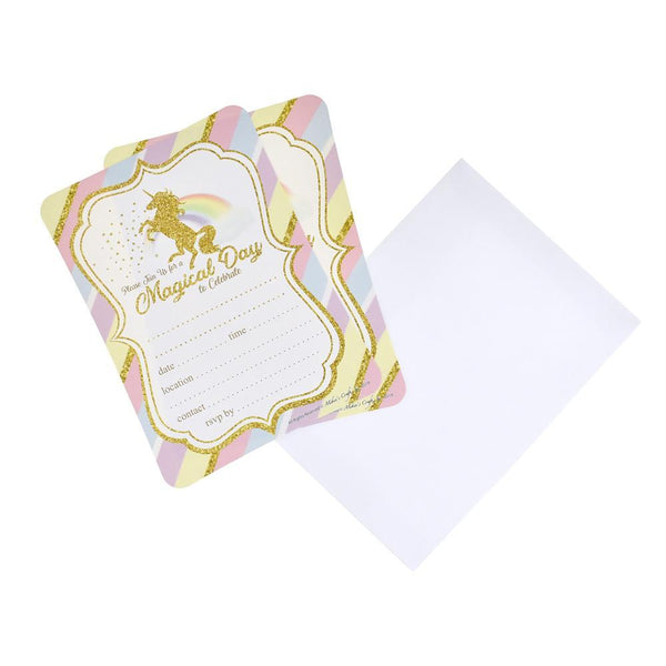 Pastel Unicorn Birthday Baby Shower Invitation Set, 7-Inch, 12-Piece