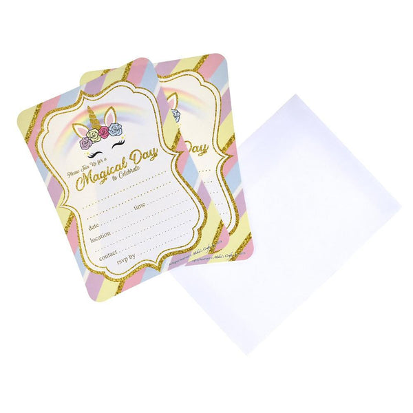Magical Day Unicorn Birthday Baby Shower Invitation Set, 7-Inch, 12-Piece