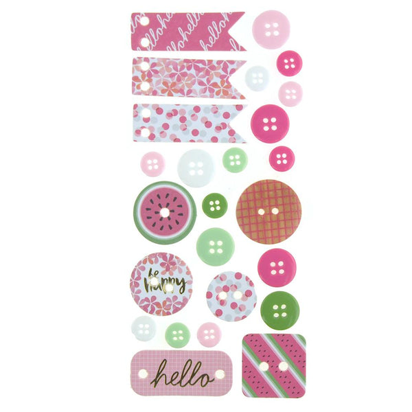 Button and Banner Scrapbooking Stickers, Pink Melon, 22-Piece