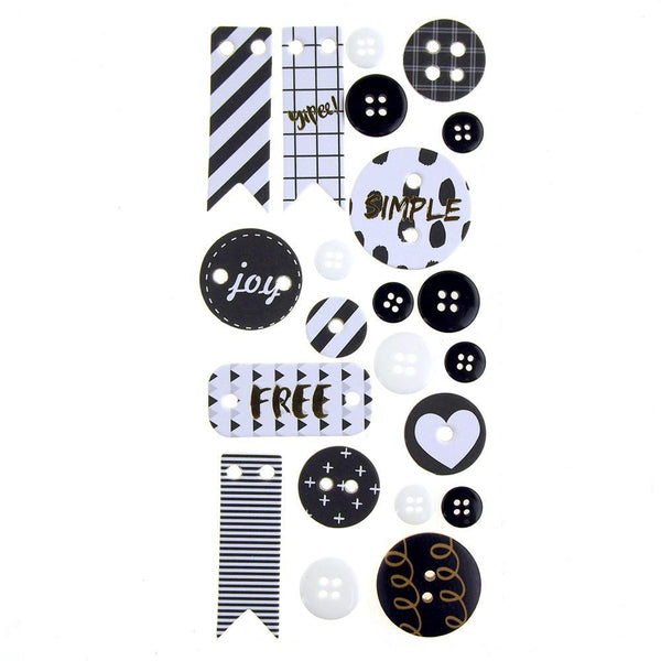 Button and Banner Scrapbooking Stickers, Black/White, 22-Piece