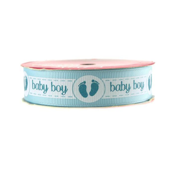 Baby Girl Baby Boy w/ Footprint Grosgrain Ribbon, 7/8-Inch, 3-yard