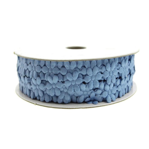 Polyester Flower Garland Ribbon, 3/8-Inch, 25-Yard, Blue