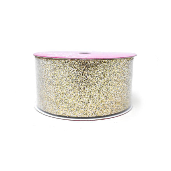 Princess Glitter Metallic Christmas Ribbon, 1-1/2-Inch, 4 Yards, Bright Gold