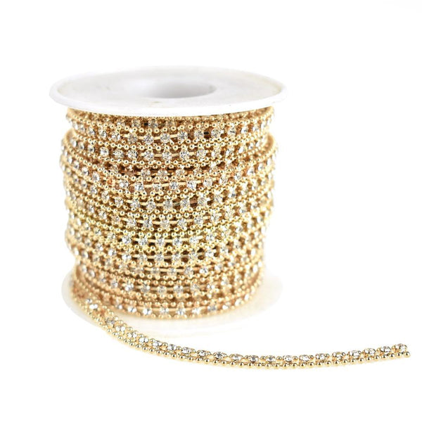 Beaded Edge Diamond Rhinestone Link Roll, Gold, 5mm, 9-Yard