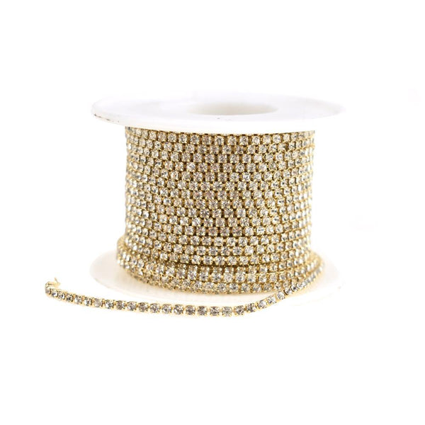Diamond Rhinestone Single Link Roll, Gold, 2mm, 9-Yard
