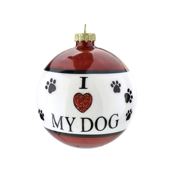 I Love My Dog Glass Ball Ornament, 3-1/4-Inch