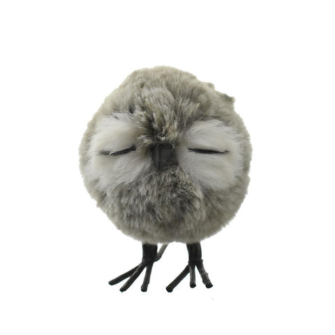 Plush Standing Owl Christmas Ornament, Grey, 4-1/4-Inch