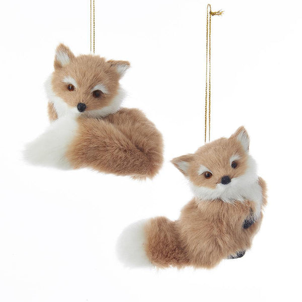 Furry Sitting Fox Christmas Ornaments, 3-Inch, 2-Piece