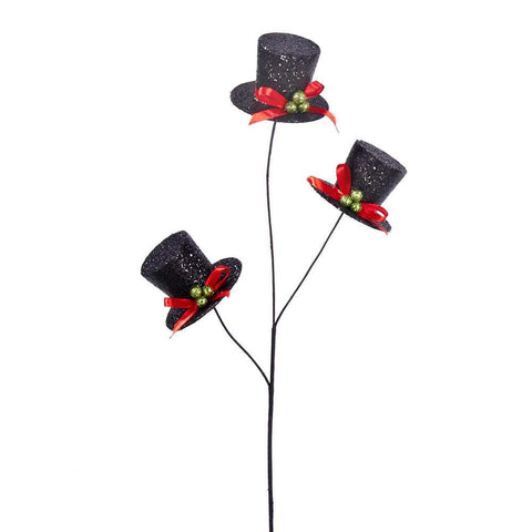 Snowman Top Hat Christmas Tree Pick, Black, 19-Inch