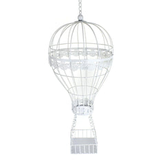 Metal Wire Hot Air Balloon, White, 36-Inch