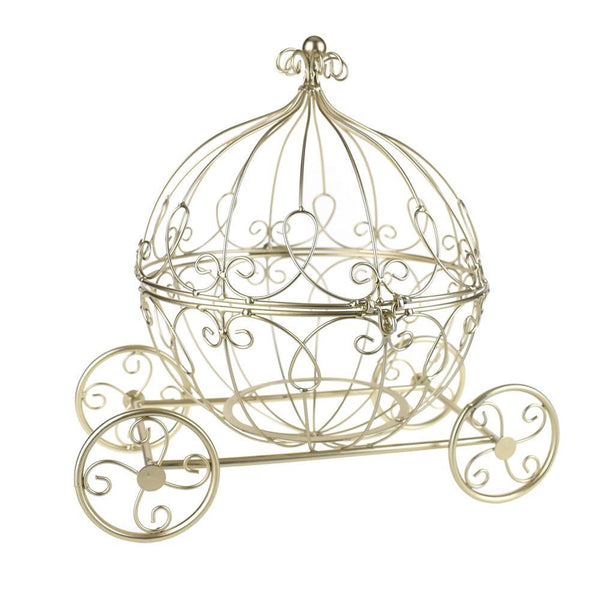 Large Metal Wire Pumpkin Coach Carriage, Gold