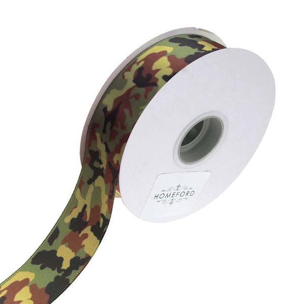 Camouflage Satin Ribbon, Green, 7/8-Inch, 4-Yard