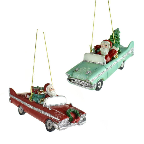 Mid Century Retro Santa Car Christmas Ornaments, 4-1/4-Inch, 2-Piece