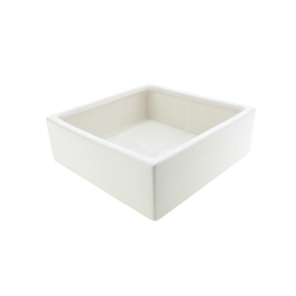 Wide Square Ceramic Vase, White, 8-3/4-Inch