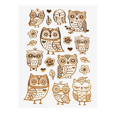Boho Owl Foil Stickers, Copper, 21-Count