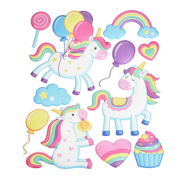Unicorn Party Puffy 3D Pop-Up Wall Art Stickers, 11-Piece