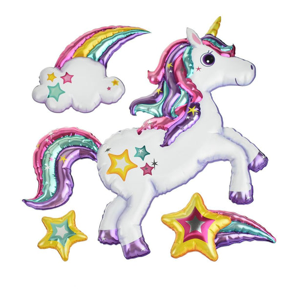Unicorn Rainbow Holographic Balloon 3D Pop-Up Wall Art Stickers, 4-Piece