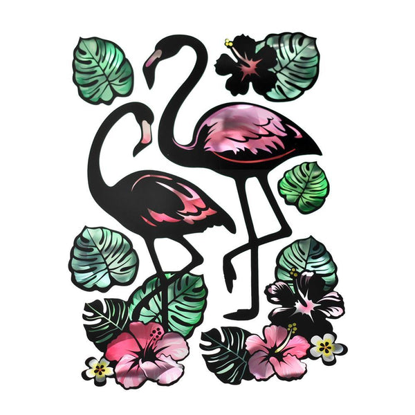 Holographic Removable Tropical Flamingo Wall Art Stickers, 7-Piece