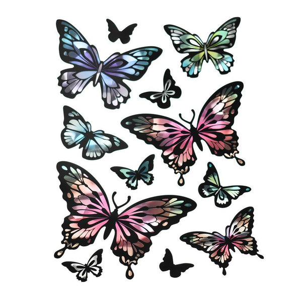 Holographic Removable Butterfly Wall Art Stickers, 12-Piece