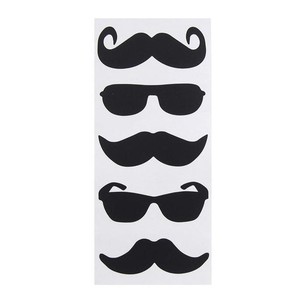 Chalkboard Label Stickers, Mustaches/Shades, 3-inch, 5-count