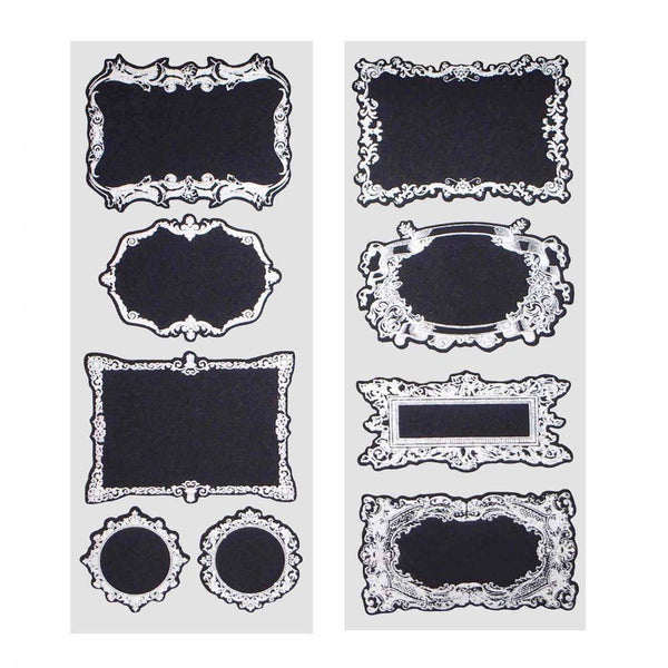 Fancy Silver Frame Chalkboard Label Stickers, 3-Inch, 2-Sheets