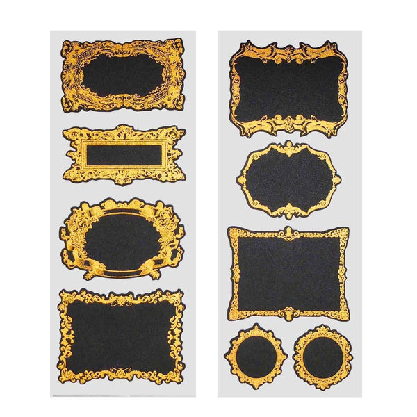 Fancy Gold Frame Chalkboard Label Stickers, 3-Inch, 2-Sheets