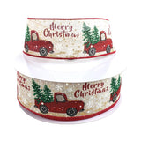 "Red Truck with Tree ""Merry Christmas"" Linen Ribbon, 2-1/2-Inch, 50-Yard BULK"