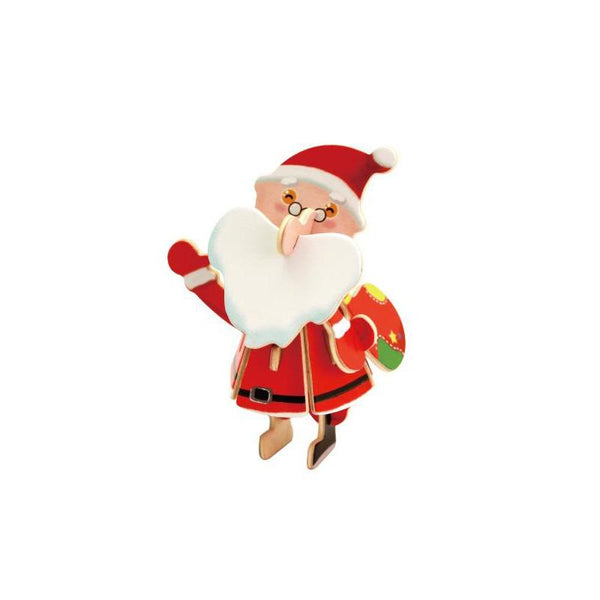 DIY Santa Claus Painted Wooden Christmas Puzzle, 3-Inch