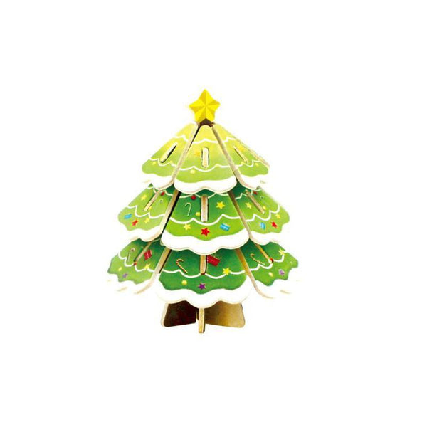 DIY Christmas Tree Painted Wooden Puzzle, 3-Inch