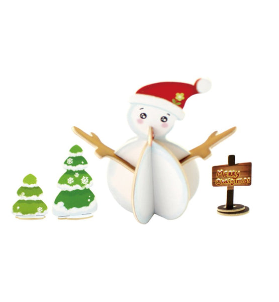 DIY Snowman Painted Wooden Christmas Puzzle, 3-1/2-Inch