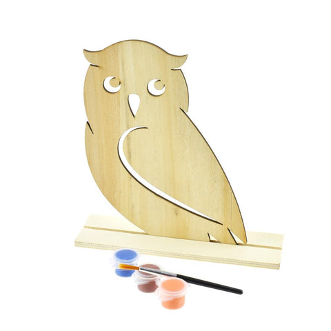 DIY Owl Wood Stand-Up Crafty Kids Kit, Natural, 6-3/4-Inch