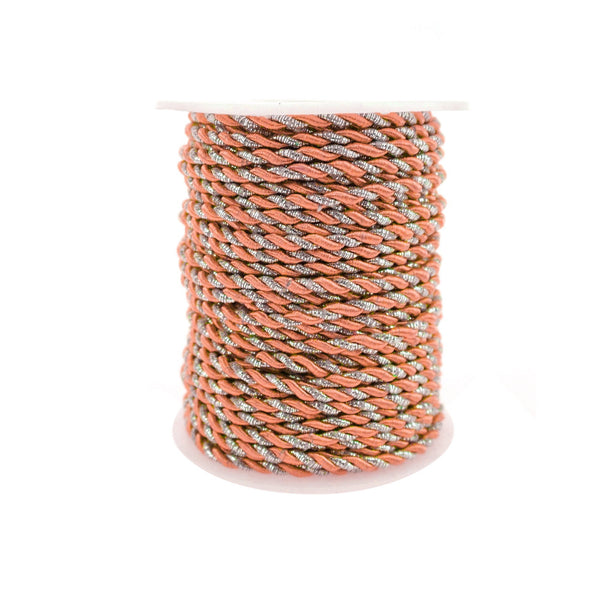 Metallic Twisted Cord Rope Trim, 3mm, 25-Yard, Coral