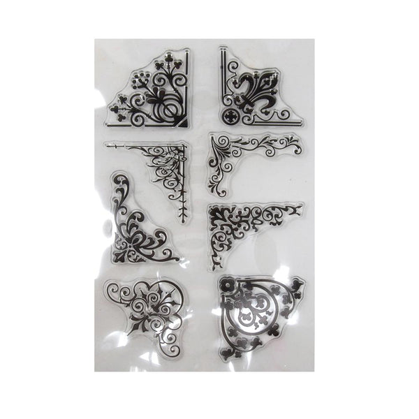 Silicone Clear Stamps Floral Corners, 8-Count