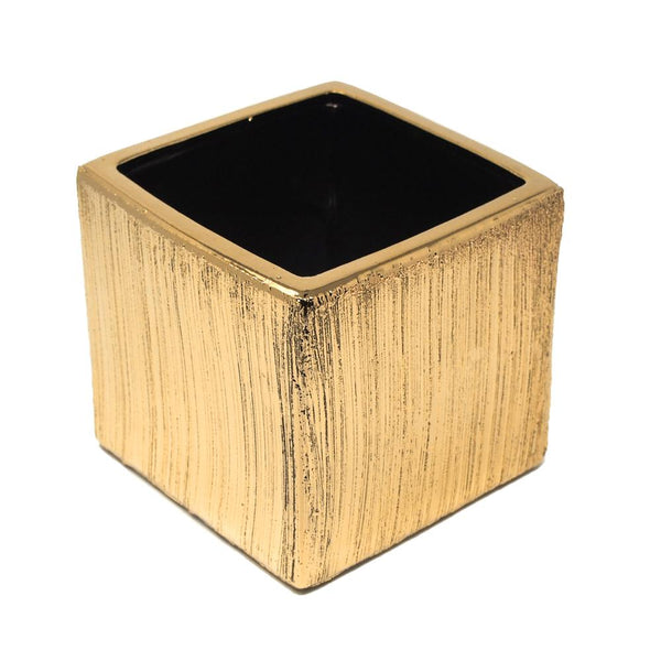 Scratched Square Cube Ceramic Floral Vase, Gold, 5-1/2-Inch x 5-1/2-Inch